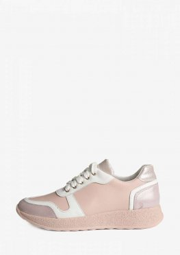 Кроссовки нежного пудрового цвета с блестящей подошвой