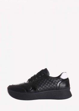 Черные женские кроссовки на высокой подошве