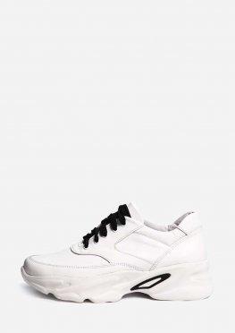 Белые кожаные кроссовки на высокой подошве