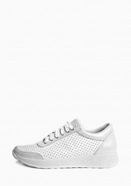 Белые женские перфорированные кроссовки с серебряными вставками