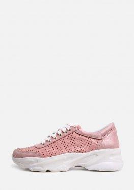 Стильные розовые перфорированные кроссовки на белой подошве