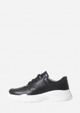 Стильные кожаные черные кроссовки на высокой белой подошве