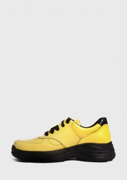 Желтые кожаные кроссовки