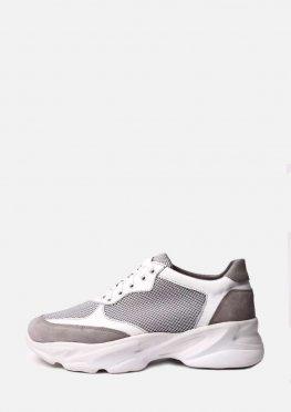 Кожаные кроссовки с текстильными вставками