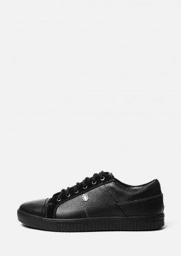 Классические кожаные черные кеды