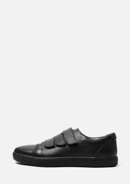 Мужские черные кожаные кеды на липучках