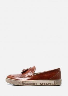 Мужские кожаные коричневые слипоны без шнурков