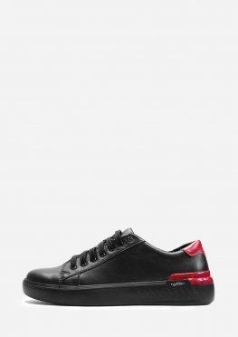Мужские черные кожаные кеды с красными вставками