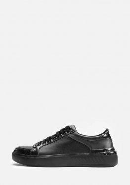 Мужские черные кожаные кеды с лаковыми вставками