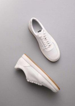 Классические мужские белые кожаные кеды с перфорацией