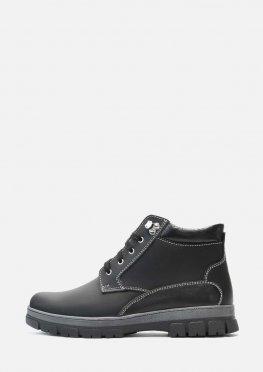 Мужские зимние ботинки из натуральной матовой кожи