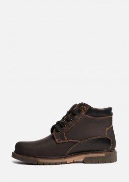 Высокие зимние мужские кожаные ботинки на меху и нескользящей подошве