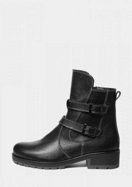 Кожаные темные женские ботинки на меху