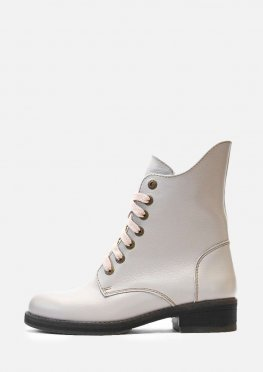 Кожаные зимние бежевые ботинки