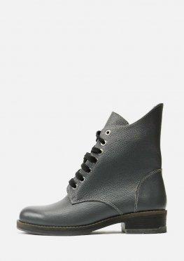 Кожаные зимние серые ботинки