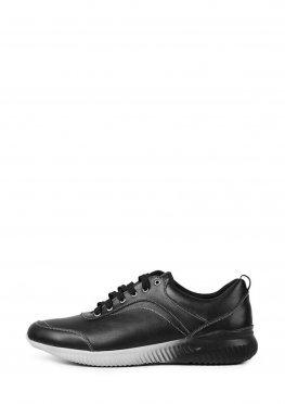 Мужские кожаные черные кроссовки