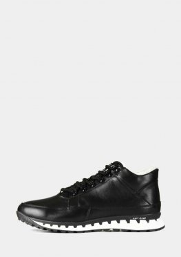Кожаные зимние мужские ботинки черные с белым