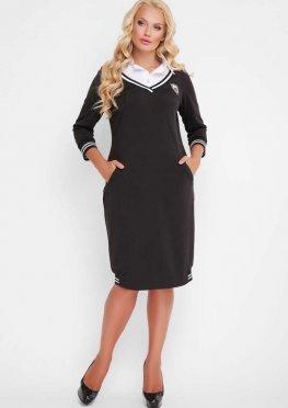Женское платье Эка с отстежным воротником черное