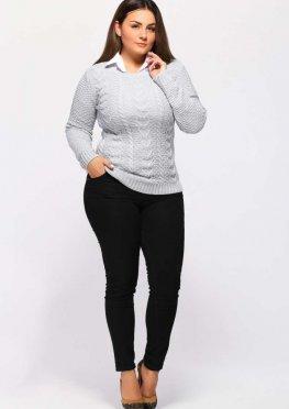 Вязаный свитер женский жемчуг (сердечки)