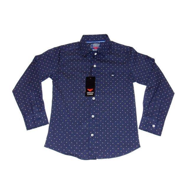 Рубашка  фирменная темно синего цвета Армани джуниор