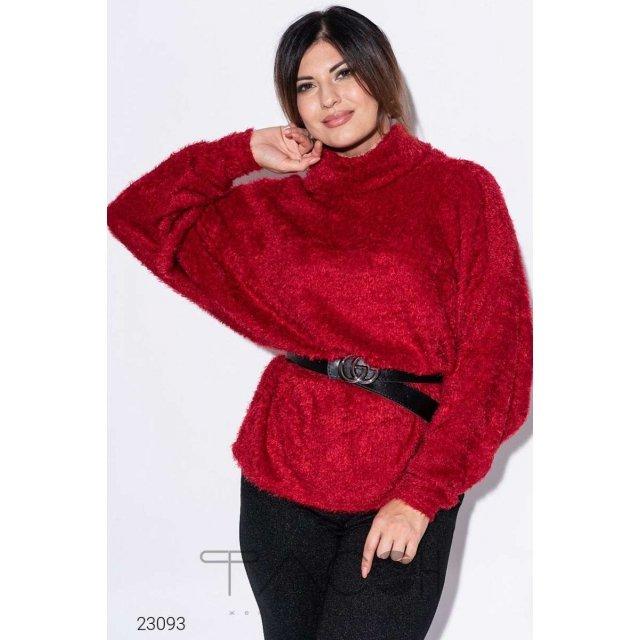Вязаный свитер с ремнём из экокожи