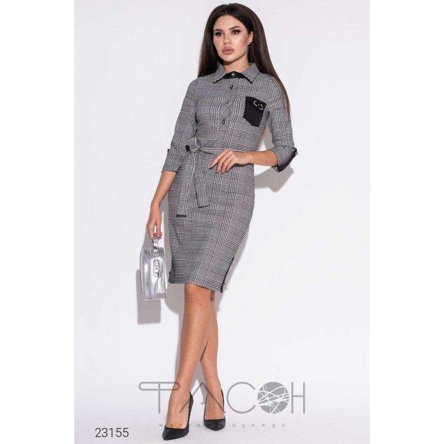 Платье-рубашка с узором гусиная лапка (23155)