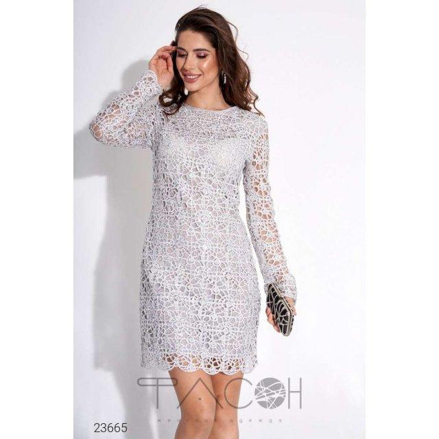 Платье мини из кружева с отделкой пайетками