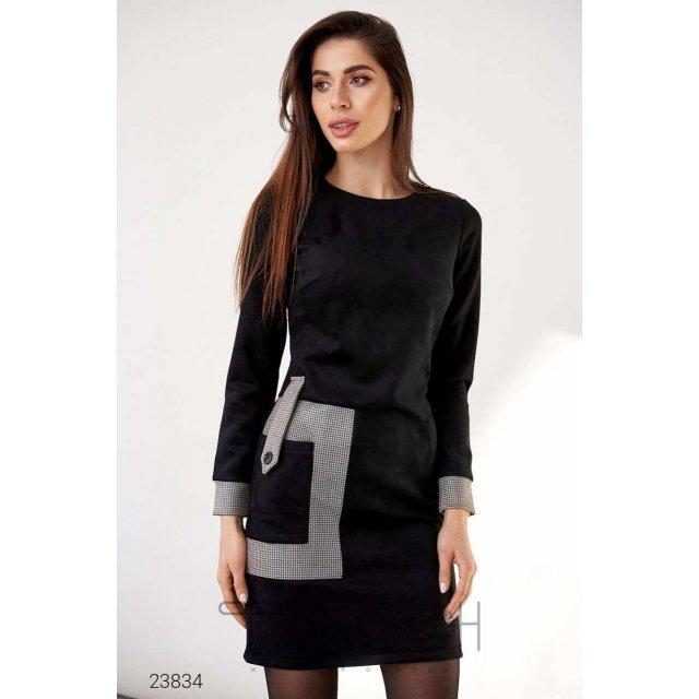 Платье из замша с накладным карманом (23834)