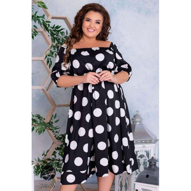 Платье с квадратным декольте в горох