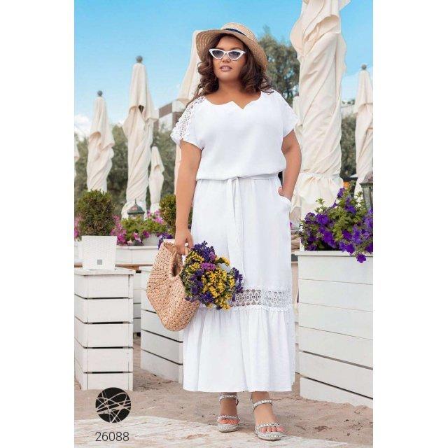 Льняное платье макси со вставками из кружева (26088)