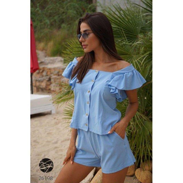 Комплект из блузы с оборками и шорт (26198)