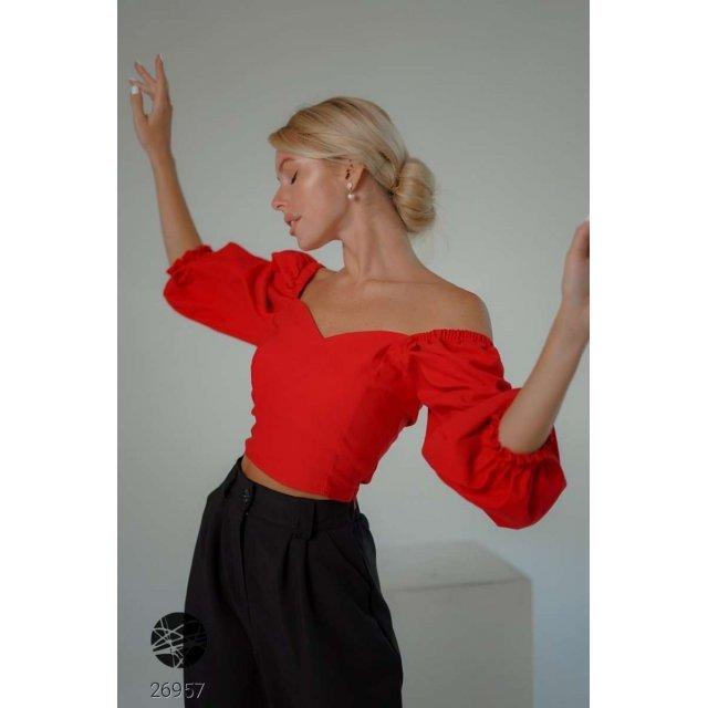 Джинсовая блуза с вырезом сердечком (26957)