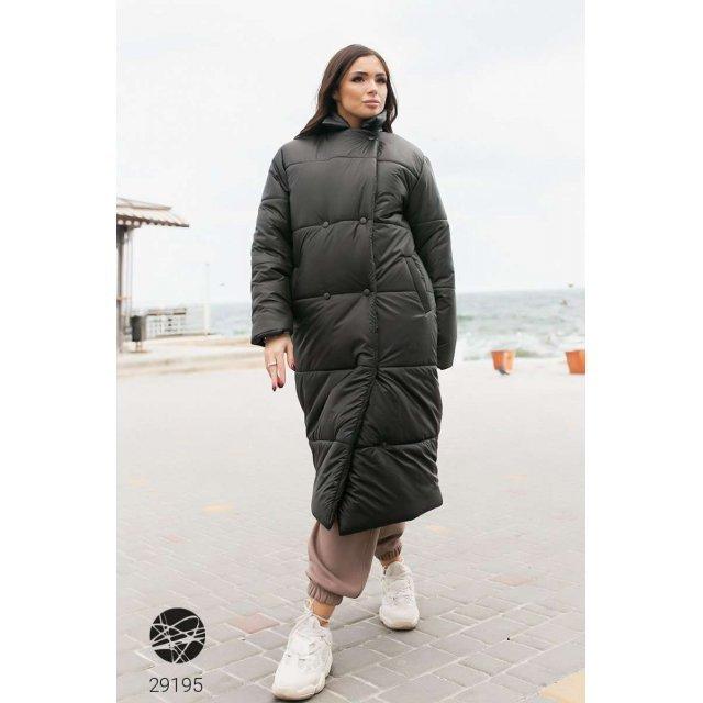 Дутая стёганная куртка миди с поясом