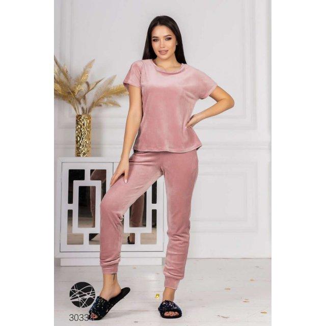 Велюровый комплект из шорт, футболки и джоггеров (30334)