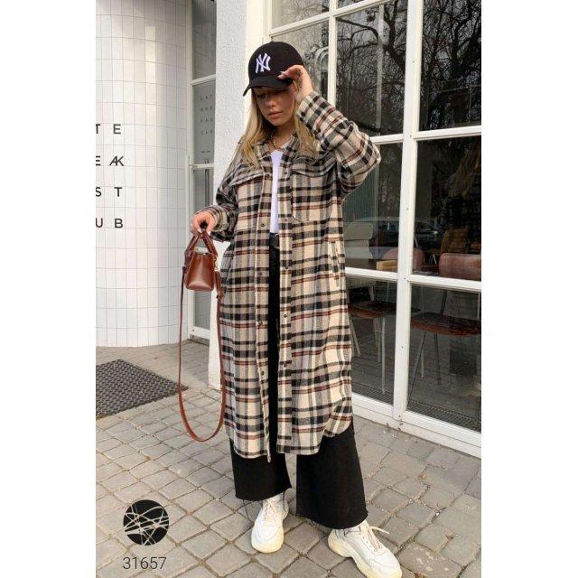 Кашемировое пальто-рубашка с принтом в клетку (31657)