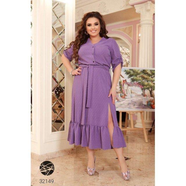 Платье-рубашка миди с оборкой (32149)