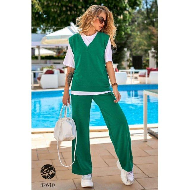 Костюм-тройка из футболки, жилета и брюк-палаццо (32610)