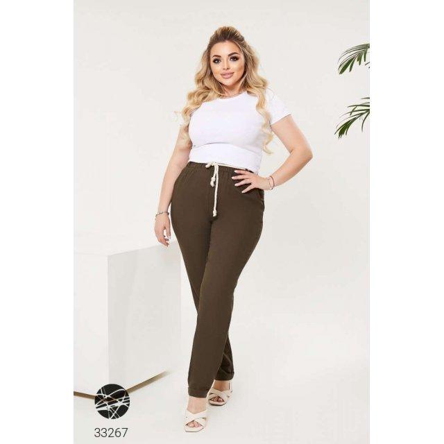 Льняные брюки с поясом-канатом (33267)