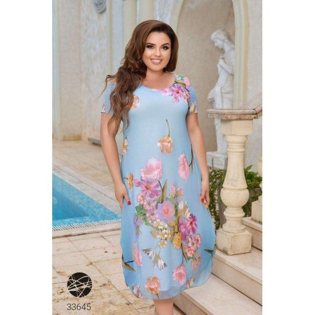 Платье миди с цветочным принтом