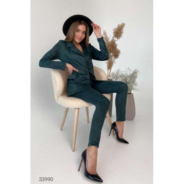 Замшевый костюм из блейзера и леггинсов (33990)