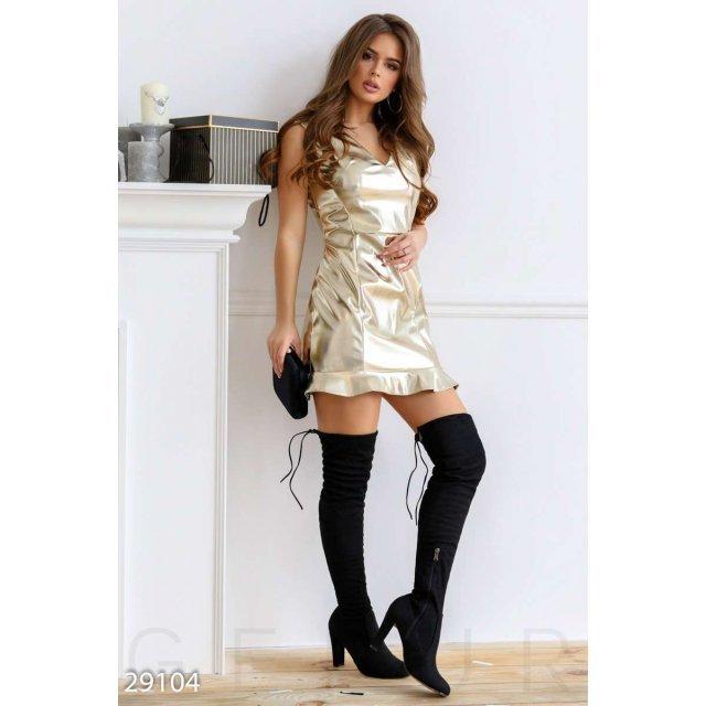 Короткое платье из кожи (29104)