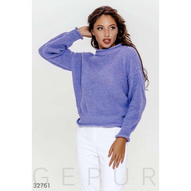 Вязаный свитер сиреневого оттенка