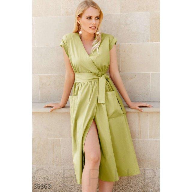Платье-миди сочного зеленого цвета