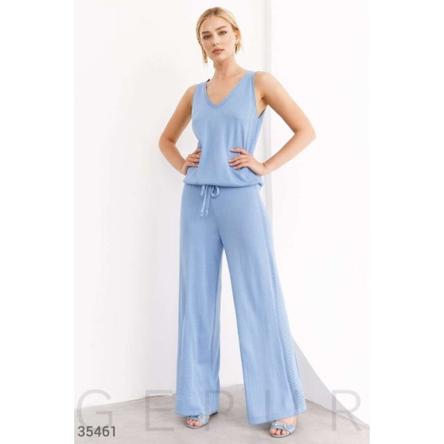 Вязаные свободные брюки голубого цвета