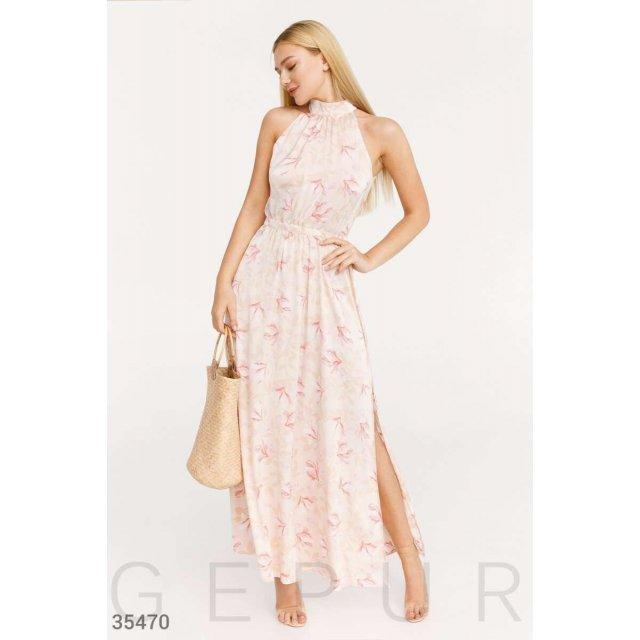 Платье-халтер нежного розового цвета