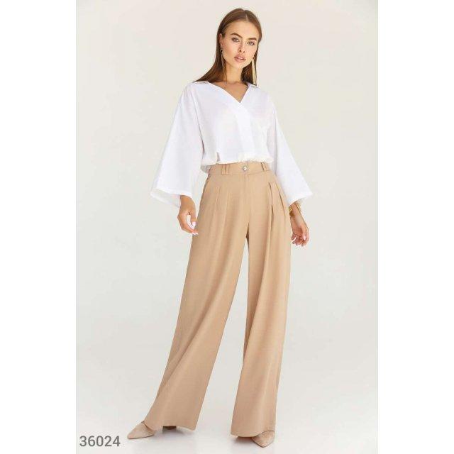Бежевые брюки с защипами (36024)