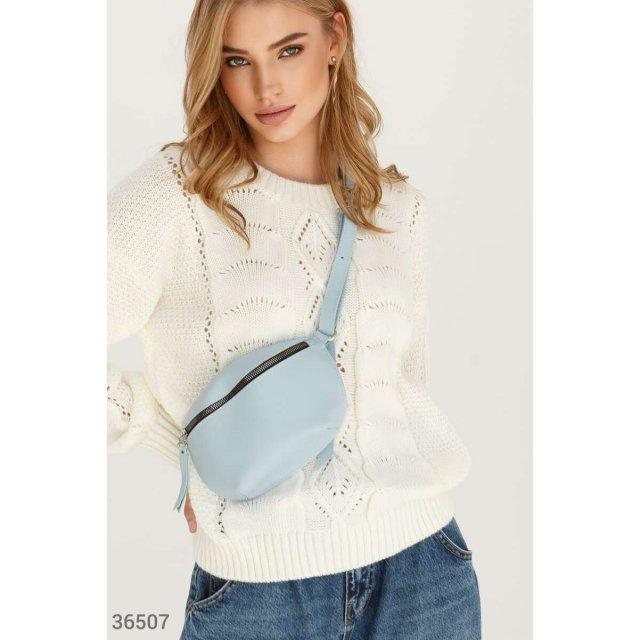 Голубая кожаная сумка на пояс