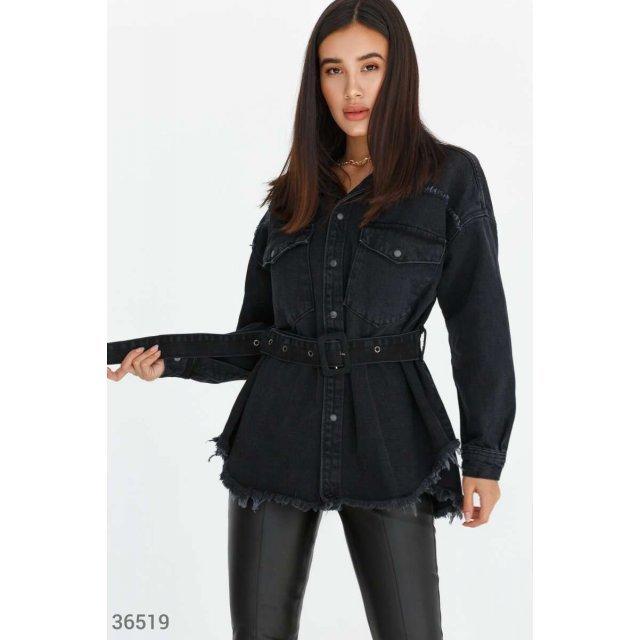 Стильная черная куртка из денима (36519)
