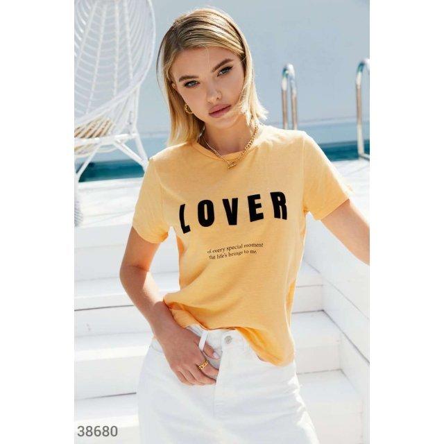 Оранжевая футболка с принтом (38680)