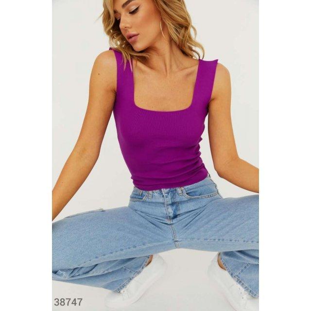 Фиолетовая майка из трикотажа в рубчик (38747)